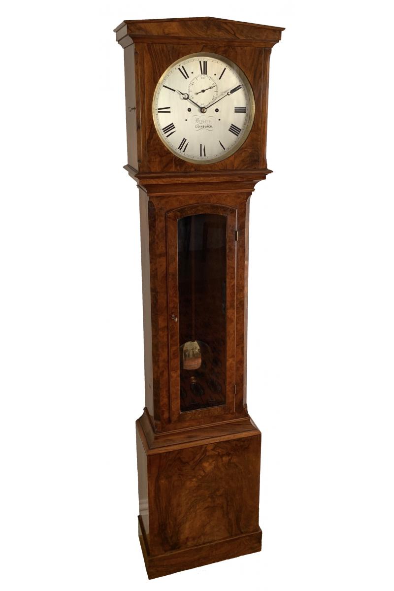 Rare burr walnut Regulator longcase clock by Brysons of Edinburgh