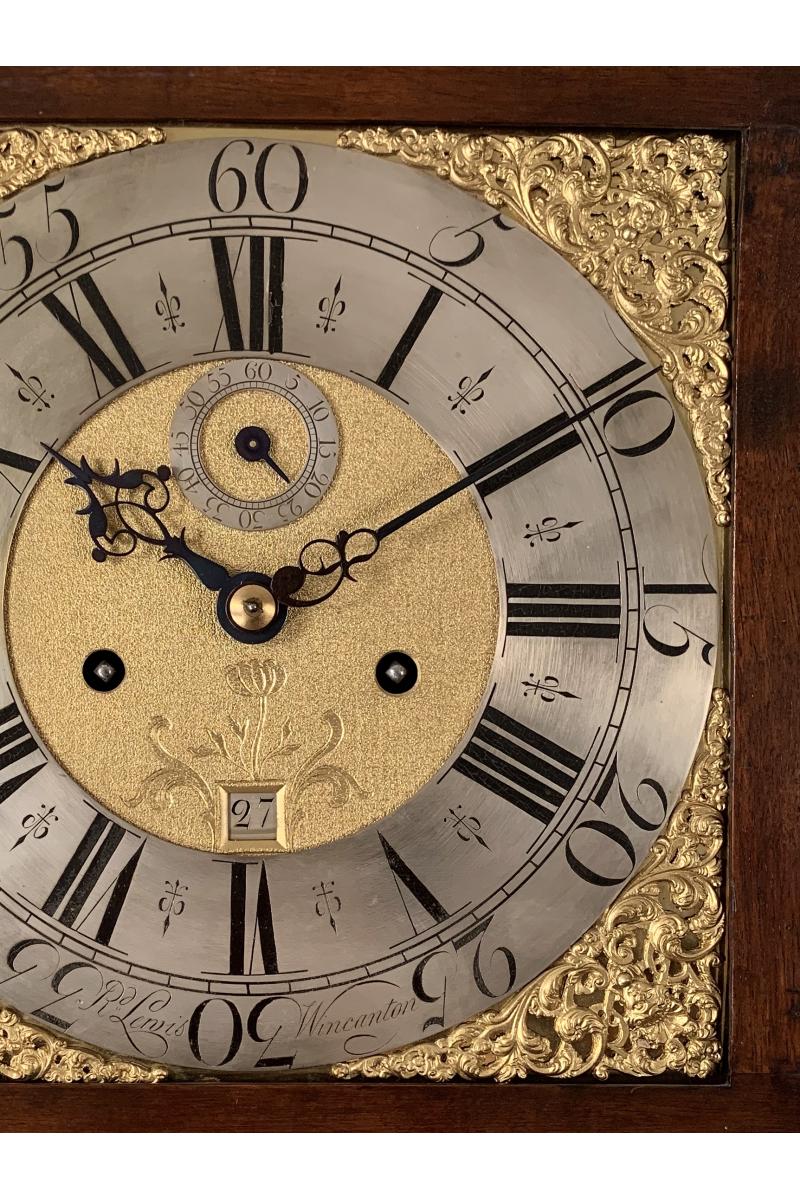 Rare Walnut longcase clock by Lewis of Wincanton