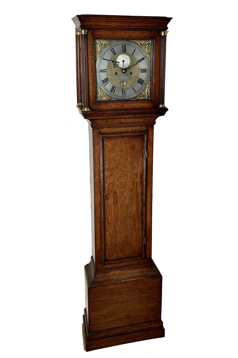 Small oak longcase clock by May of Henley on Thames