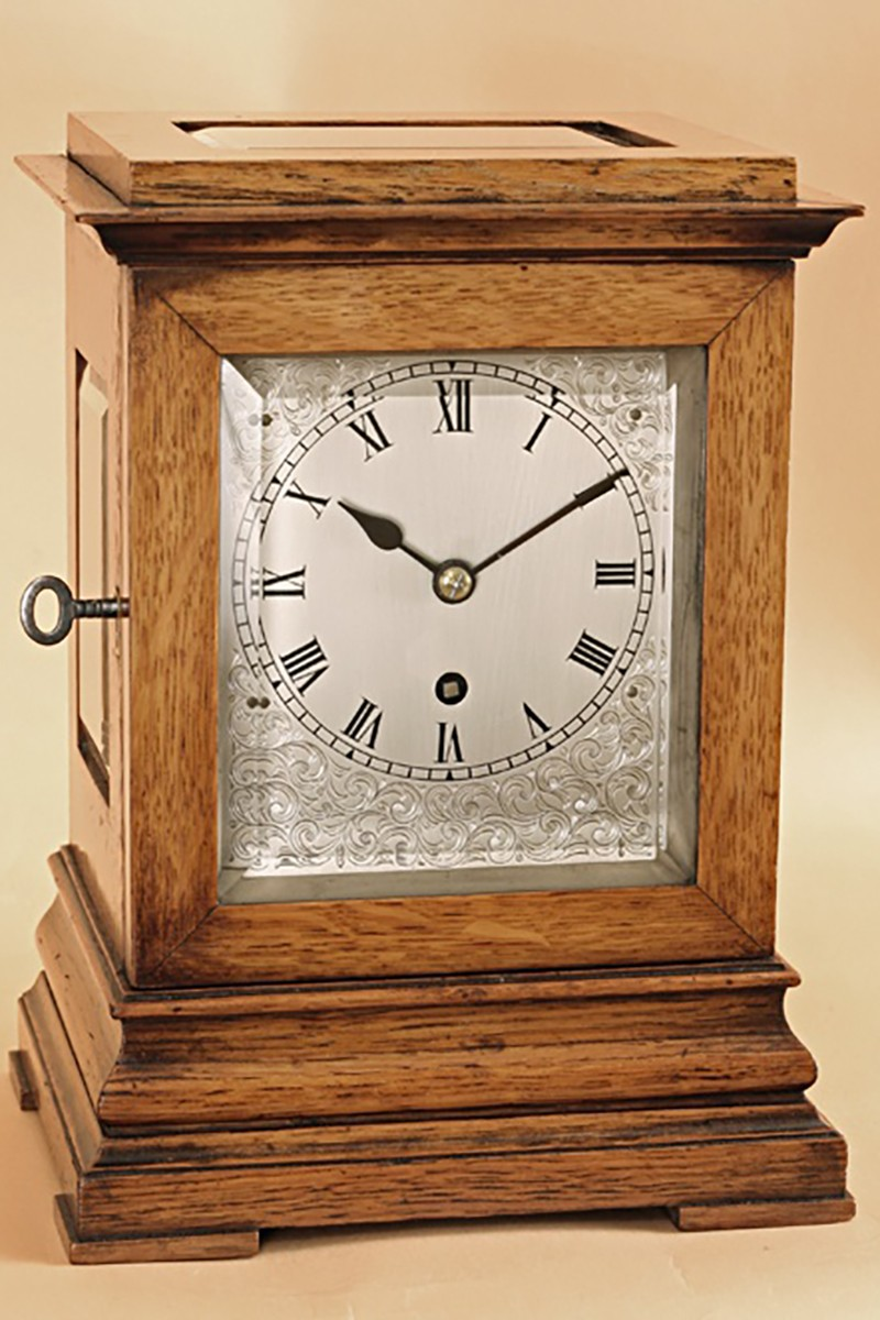Four Glass Oak Mantel Clock